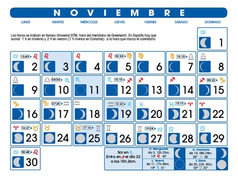 Calendario Lunar Colombia 2017 Noviembre Calendario Lunar Noviembre De 2015