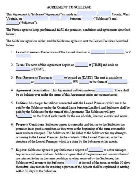 apartment rental agreement template word free west virginia sublease agreement pdf template