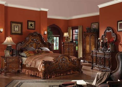 Antique Wood Bedroom Furniture Traditional Antique Carved Wood Cherry King Bed Frame For Luxury Bedroom Ebay