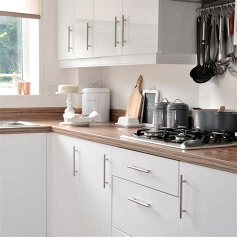 white kitchen with wooden worktops models picture
