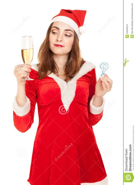 beautiful woman in new year costume with a glass of