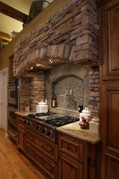 Great Decorative Stone Range Hoods Design with Wooden