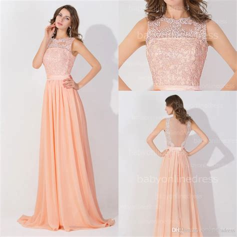 Peach Pink Long High Neck Cheap Prom Dresses 2016 Lace