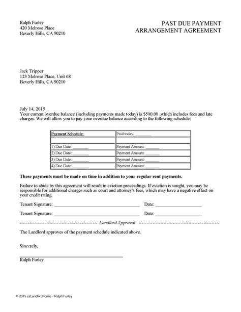 Past Due Payment Arrangement Agreement | EZ Landlord Forms | Rent payment | Pinterest