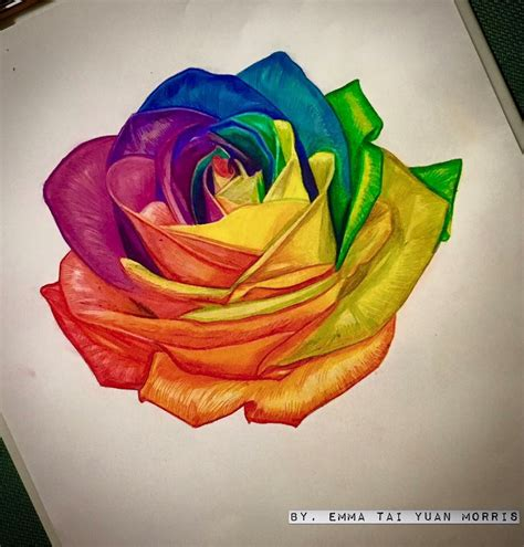 colourful rose tattoo rainbow artwork personally