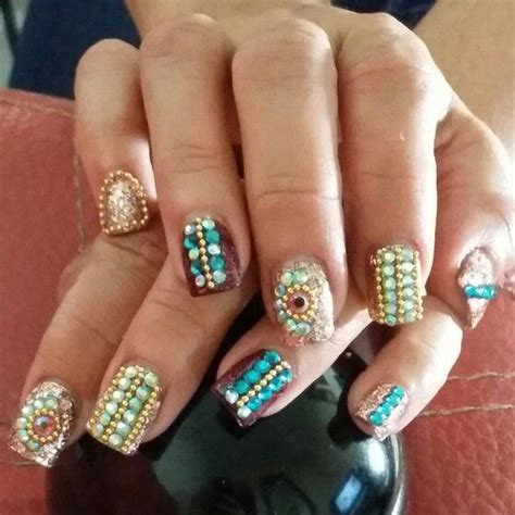 imagenes de uñas acrilico con piedras glitter on pinterest