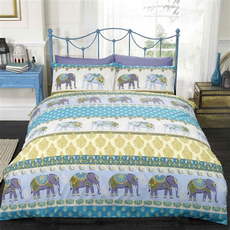jaipur elephants single duvet cover set blue bedding