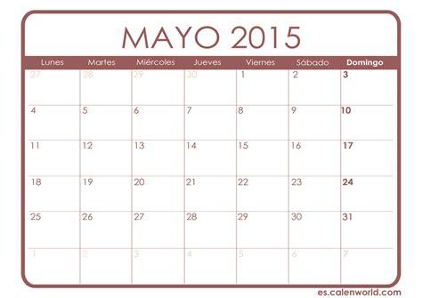 Calendario De Mayo 2015 Calendario Mayo 2015 Calendarios Para Imprimir