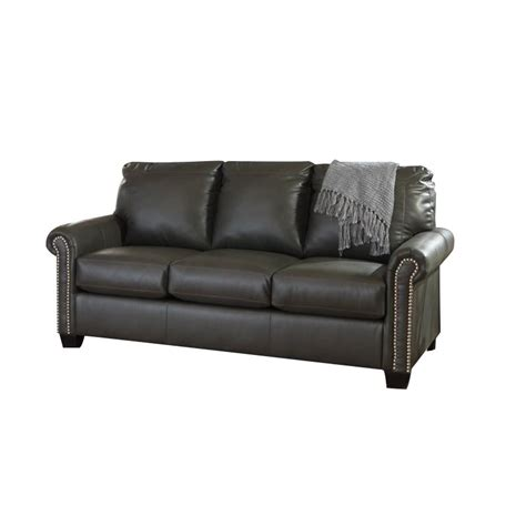 ashley leather sleeper sofa ashley lottie leather full sleeper sofa in slate 3800136