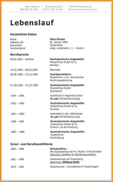 Resume For One Job by 9 Moderner Lebenslauf Vorlage Resignation Format Vorlage