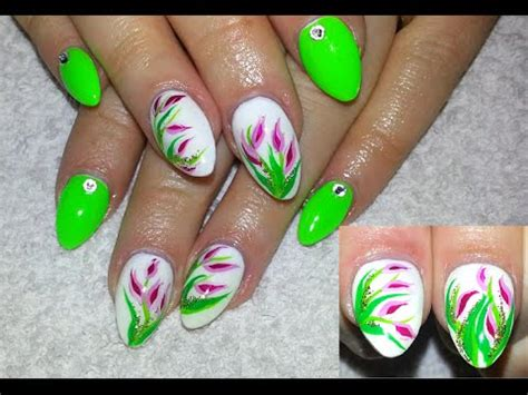 tulip flower nail art youtube neon green almond shaped nails with tulip flowers youtube