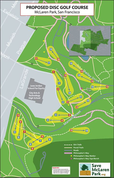 san francisco golf map maps of mclaren park and the proposed disc golf course