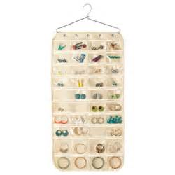 container store jewelry storage hanging jewelry holder 80 pocket canvas hanging jewelry