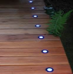 Electric Patio Lights Blue Or White Set Of 8 Indoor Outdoor Bright Coloured Electric Led Deck Lights For Garden Or