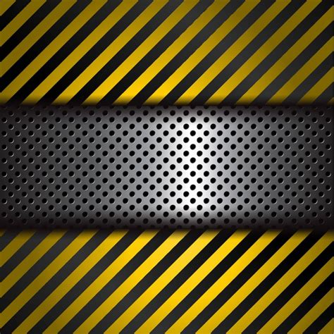 perforated metal background  yellow  black stripes