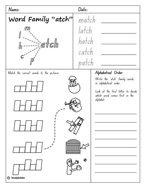 At Word Family Worksheets Free by Word Family Quot Atch Quot Skills Interactive