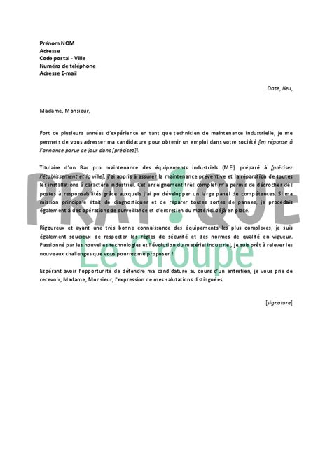 Exemple De Lettre De Motivation Technicien De Maintenance Industrielle Lettre De Motivation Pour Un Emploi De Technicien De Maintenance Industrielle Pratique Fr
