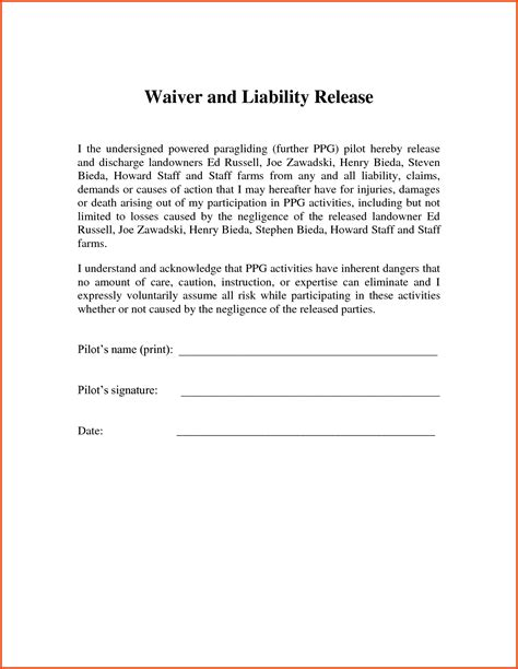 Form Printable Release Of Liability Form Release Of Liability Form Personal Liability Waiver Template