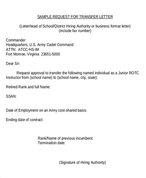 Employment Transfer Request Letter Sle Transfer Request Letter 5 Documents In Pdf Word