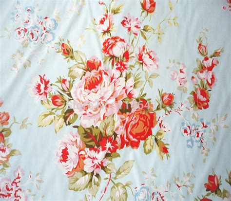 1 meter blue fabric shabby chic floral cotton fabrics patchwork tissue sewing cloth home textile