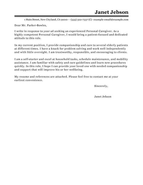 cover letter for personal care assistant best personal assistant cover letter exles livecareer