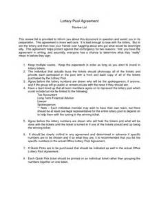 Agreement Letter For Lottery Pool Lottery Agreement Form Free Printable Documents