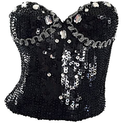 beaded bustier vintage deatherage black sequin rhinestone beaded