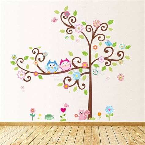owl tree wall sticker owls wall stickers 2017 grasscloth wallpaper