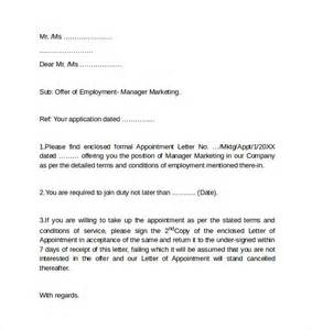 cover letters for employment sle employment cover letter template 8 free
