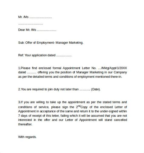 employment cover letter templates sle employment cover letter template 8 free
