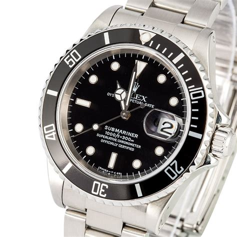 pre owned rolex s submariner stainless steel black