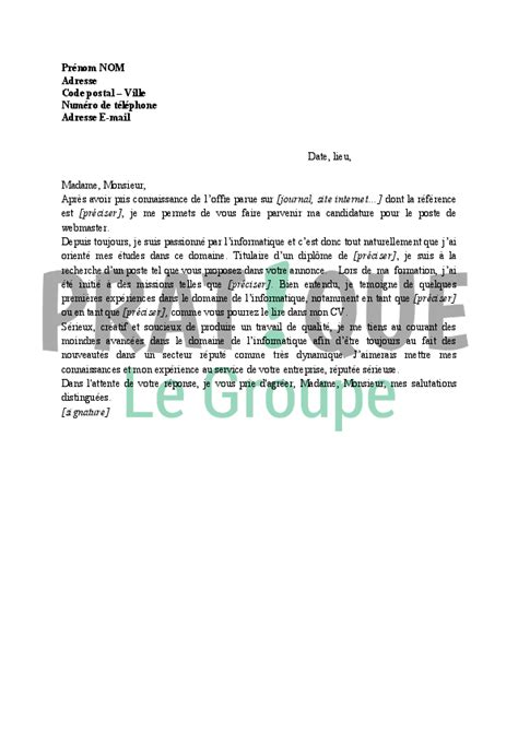 Lettre De Motivation De Controleur Qualité Exemple Lettre De Motivation Webmaster Document