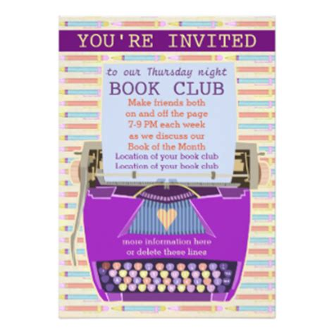 typewriter personalized book club reading 1 5x7