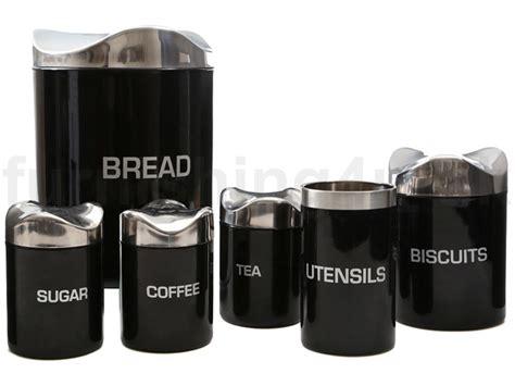 new black houston enamel tea coffee sugar biscuit storage