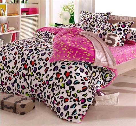cheetah comforter sets warm coral fleece material colorful leopard print 4 piece