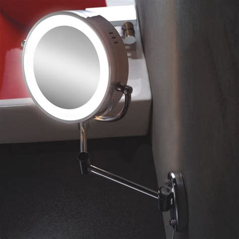 bathroom shaving mirror with light led lighted wall mounted dual side magnification makeup