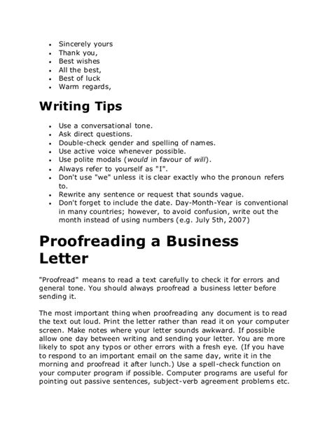Closing Business Letter Best Regards Business Letters In