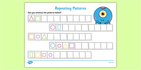 pattern worksheet twinkl repeating pattern worksheet activity sheets shapes