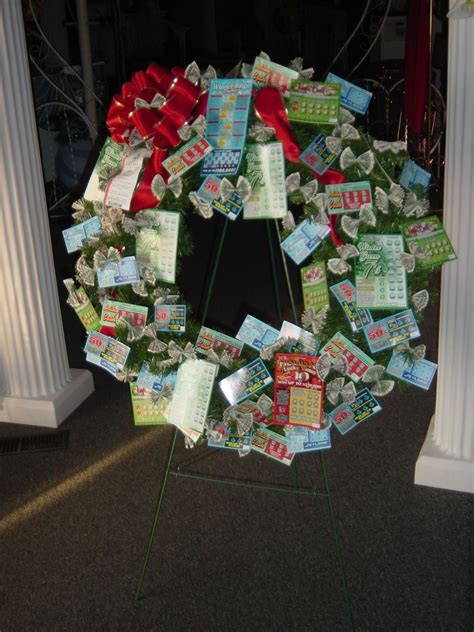 christmas trees decorated with scratch tickets lottery money wreath lottery money bouquets wreaths and