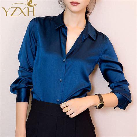 Lavender Silk Button Blouse by S Xxxl Fashion Blue Satin Silk Blouse