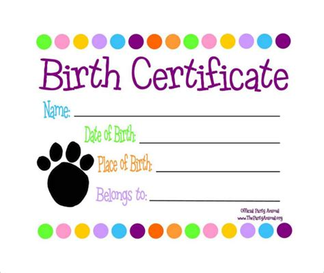 puppy birth certificate template free sle birth certificate 18 free documents in word pdf