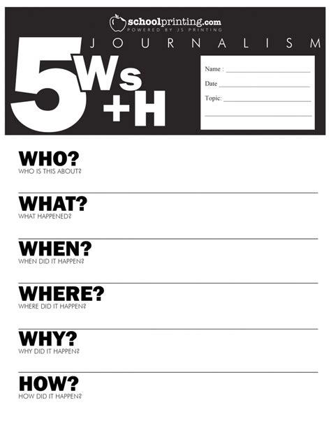 5 W S Worksheet by School Newspaper Ideas 5 W S Diversified