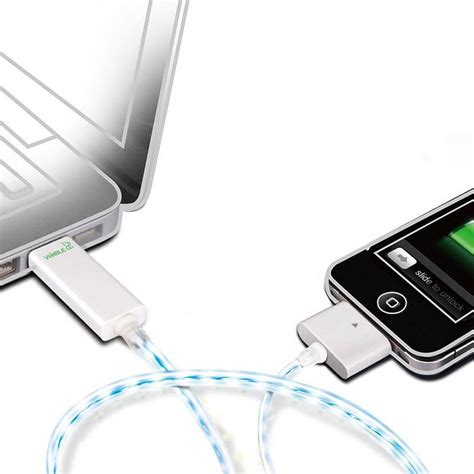 dexim visible green illuminated iphone charger and sync