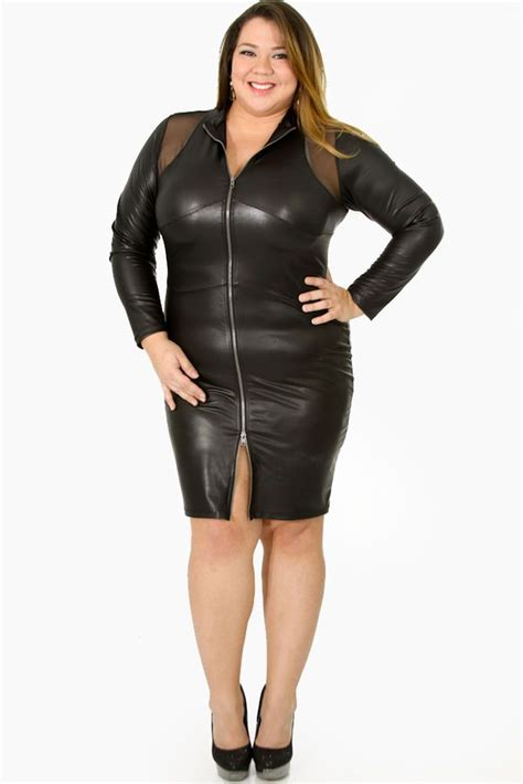 cutethickgirls plus size leather dress 01