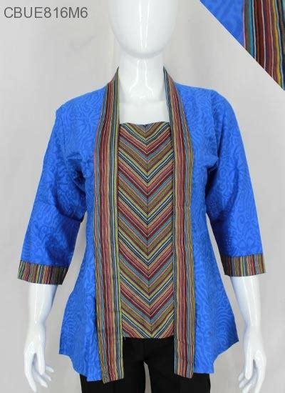 Blus Motif Tenun kutubaru tenun motif lurik blus lengan tanggung murah