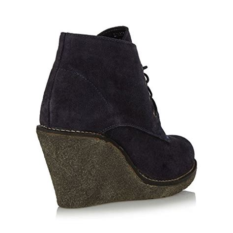 mantaray womens navy suede wedge high heel ankle boots 7