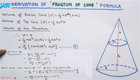 volume of a cone section frustum of a cone formula derivation frustum of a cone