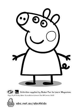 peppa pig print and colour abc kids