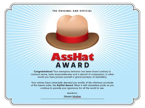 Ass Hat Meme - new for 2013 the copyright troll asshat of the month