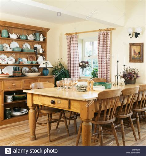 country kitchen furniture pine table and chairs and large pine dresser in country